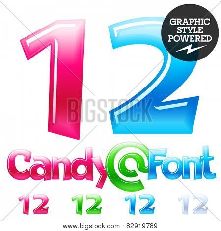 Children's candy font. Set of vector symbols. Numbers 1 2