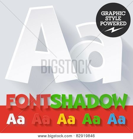 Modern funny flat alphabet with long ambient shadow. Optional colors. Letter A
