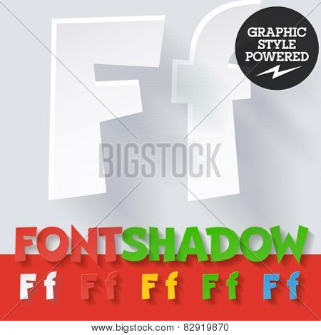 Modern funny flat alphabet with long ambient shadow. Optional colors. Letter F