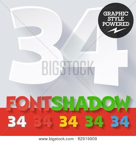 Modern funny flat alphabet with long ambient shadow. Optional colors. Numbers 3 4