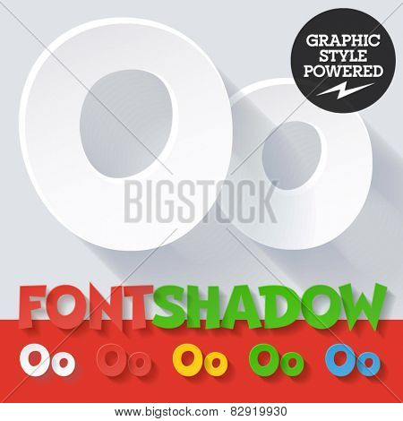 Modern funny flat alphabet with long ambient shadow. Optional colors. Letter O