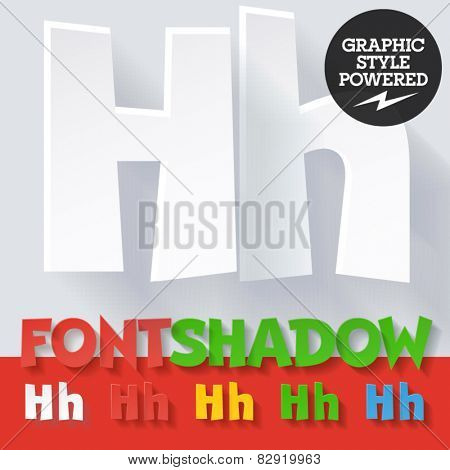 Modern funny flat alphabet with long ambient shadow. Optional colors. Letter H