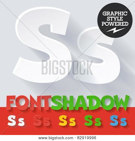 Modern funny flat alphabet with long ambient shadow. Optional colors. Letter S