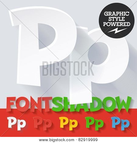Modern funny flat alphabet with long ambient shadow. Optional colors. Letter P