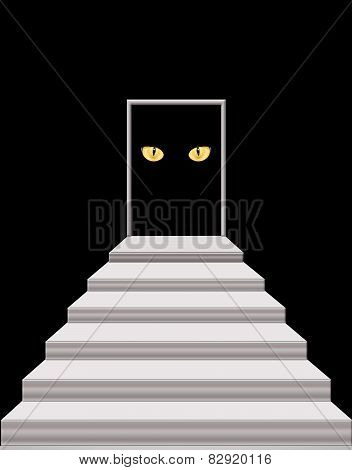 Stairs Leading To The Door With Cat's Eyes In Darkness