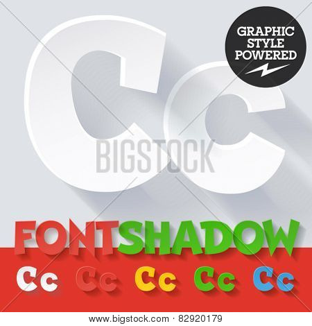 Modern funny flat alphabet with long ambient shadow. Optional colors. Letter C