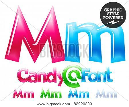 Children's candy font. Set of vector symbols. Letter M