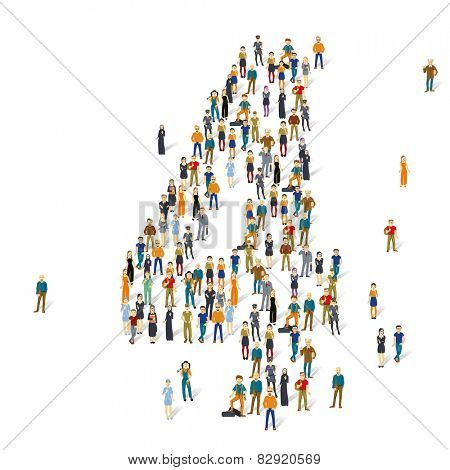 People crowd. Vector figures, 4