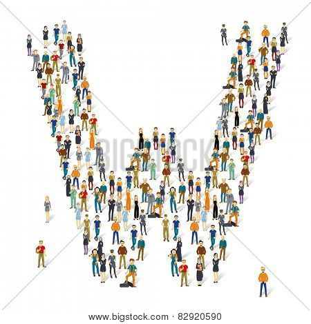 People crowd. Vector ABC, letter W
