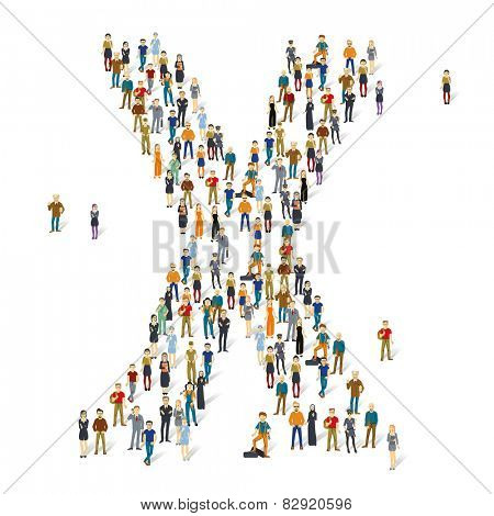 People crowd. Vector ABC, letter X
