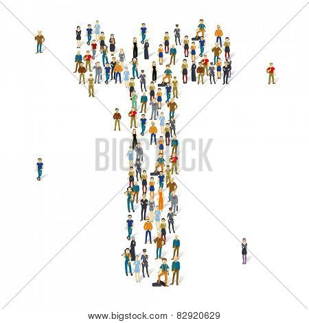 People crowd. Vector ABC, letter T