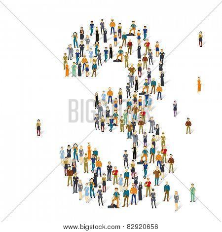 People crowd. Vector figures, 3