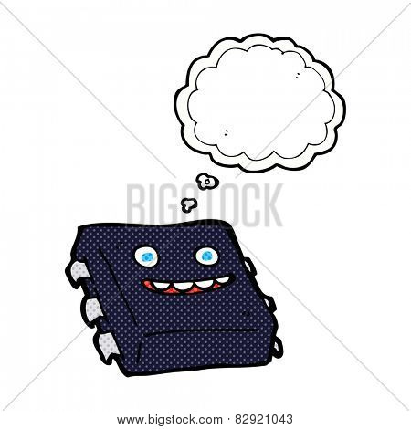cartoon computer chip with thought bubble