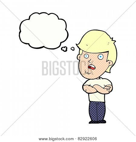 cartoon disappointed man with thought bubble