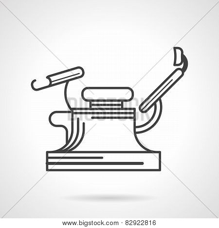 Black line vector icon for gynecology chair