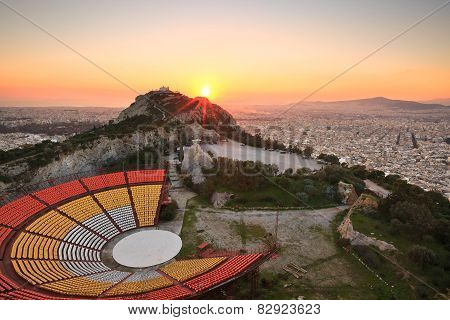 Athens and Lycabettus Hill.