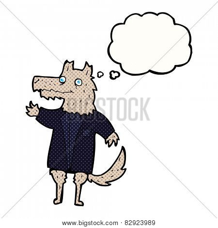 cartoon wolf businessman with thought bubble