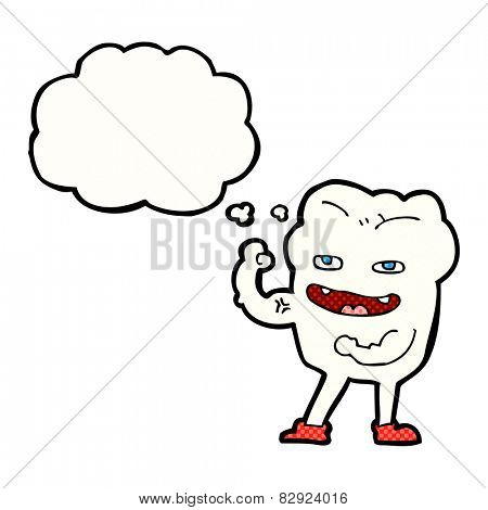 cartoon strong healthy tooth with thought bubble