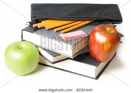 School Books With Pencil Case