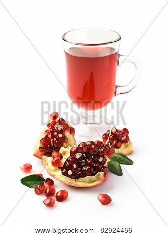 Pomegranate Juice In A Glass And Fresh Fruit