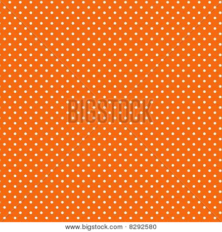 Seamless Polka Dot Pattern, Orange Background
