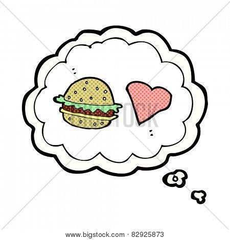 cartoon hamburger with thought bubble