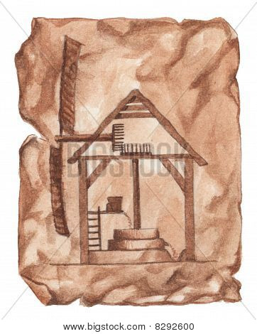 Illustration of a mill on parchment