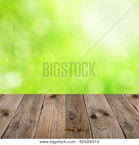 Empty Wooden Table With Natural Background