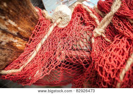 Natural Fiber Net On Old Wooden Boat