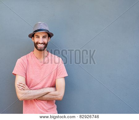 Cool Young Man With Beard Smiling