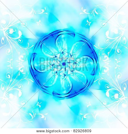 Decorative Fractal Wallpaper - Intricate Patterns Of Blue Light With White Ornament