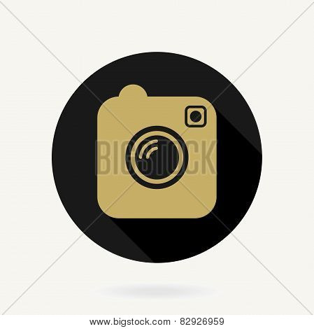 Camera  Icon With Flat Design. Black and Golden Colors