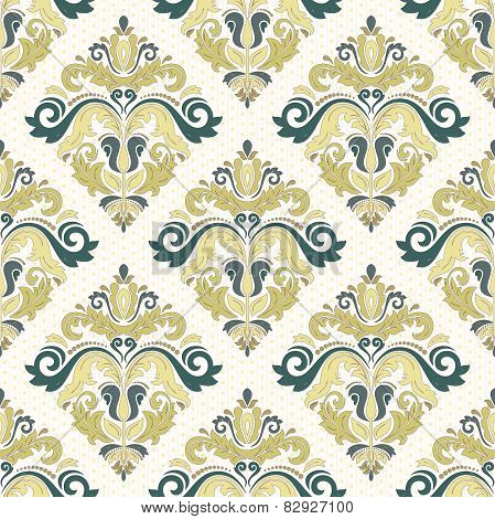 Damask Seamless  Pattern. Orient Coloful Background