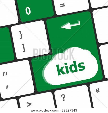 Kids Key Button In A Computer Keyboard