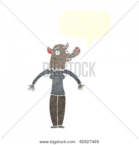 cartoon friendly werewolf woman with speech bubble