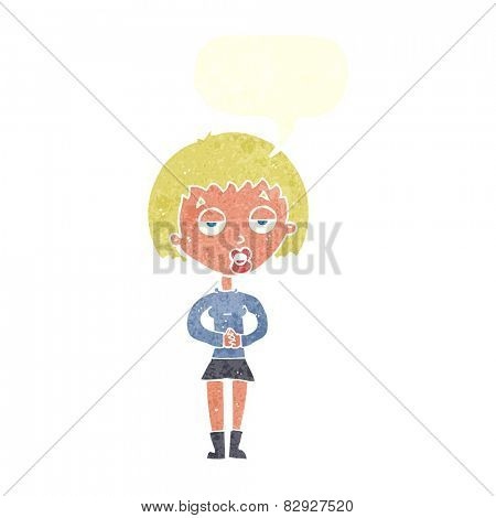 cartoon bored woman waiting with speech bubble