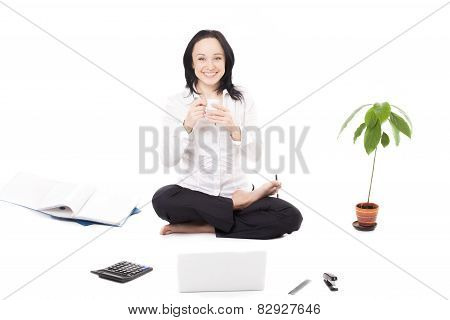 Young Female Company Worker With Laptop In Lotus Pose On White Background