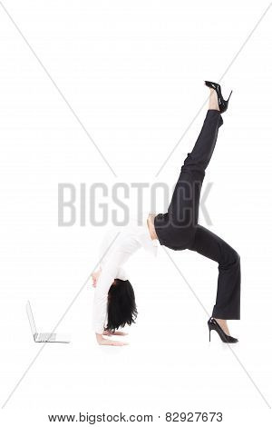 Young Office Woman Standing In Yoga Pose In Front Of Laptop On White Background