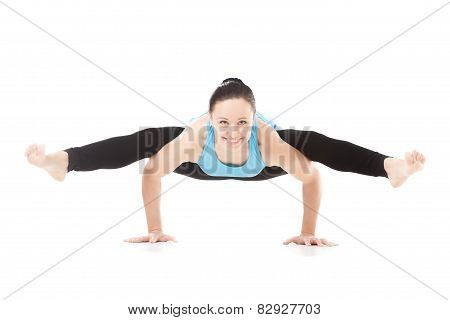 Yogi Female In Yoga Tittibhasana, Insect Pose