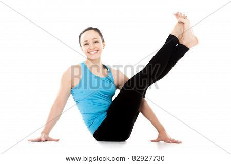 Yogi Female Sitting In Yoga Posture, Smiling