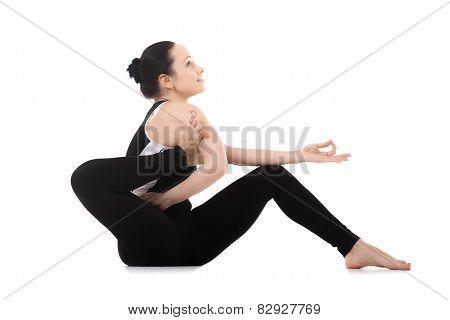 Yogi Female Doing Yoga Asana Eka Pada Sirsasana