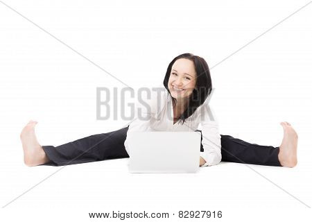 Cheerful Office Woman With Laptop Doing Splits On White Background