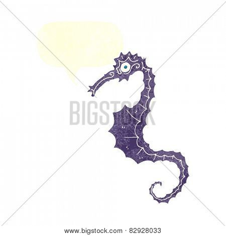 cartoon sea horse with speech bubble