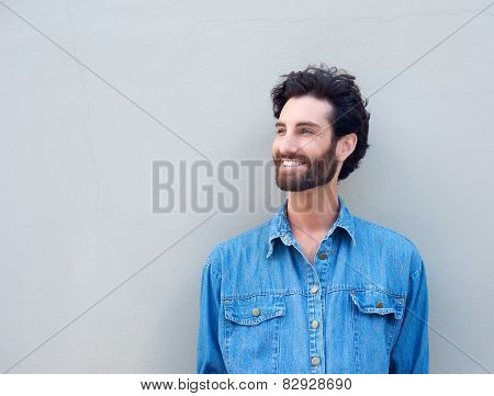 Close Up Happy Man With Beard Smiling