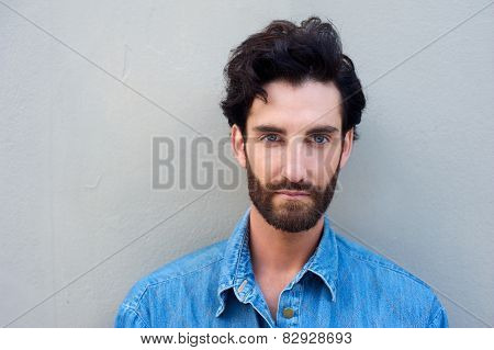 Close Up Portrait Of A Young Man With Beard