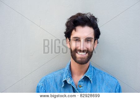 Handsome Young Man With Beard Smiling