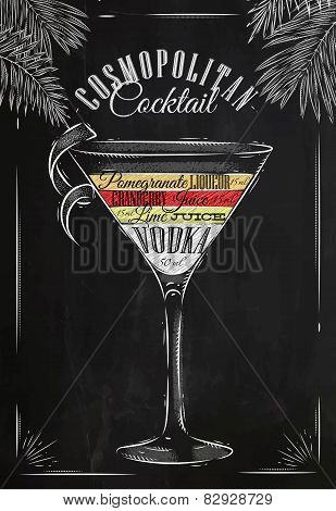 Cosmopolitan cocktail chalk