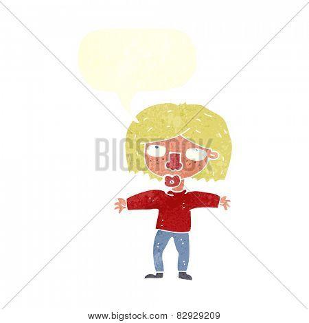cartoon girl looking upwards with speech bubble