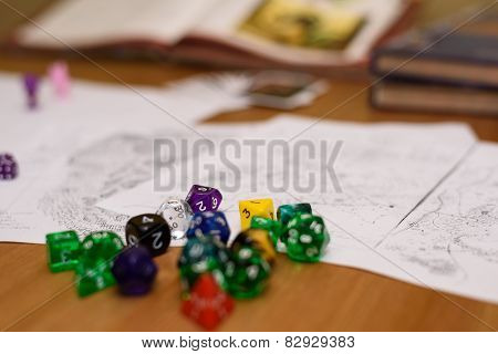 Role Playing Game Set Up On Table
