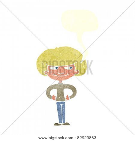 cartoon boy with hands on hips with speech bubble